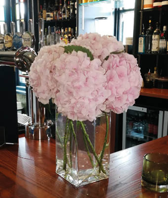 Flowers on the bar
