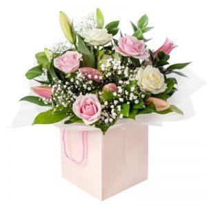Strawberries and Cream flower arrangement