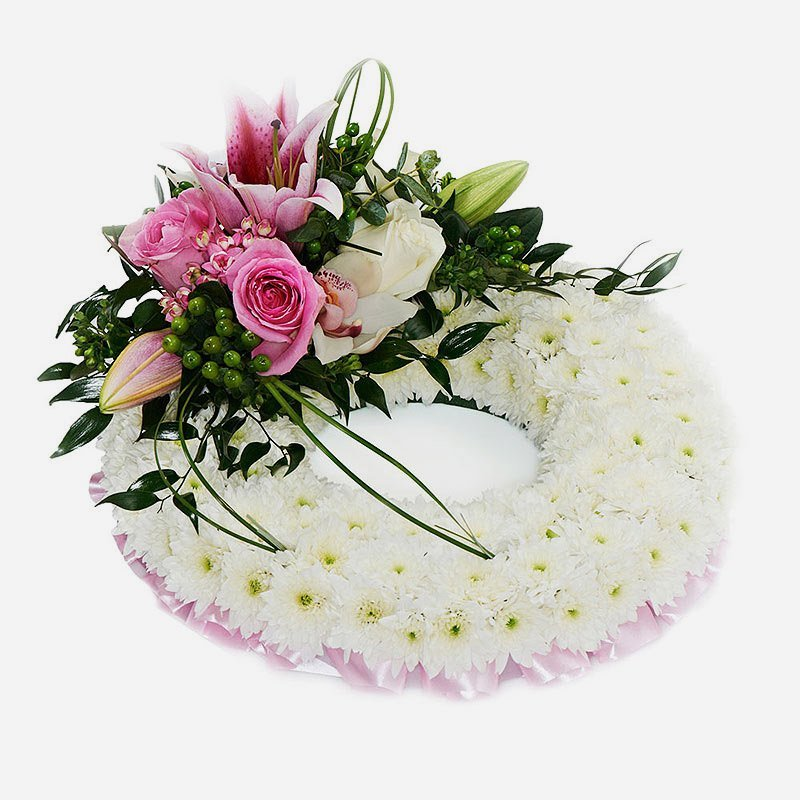 Pink massed funeral wreath