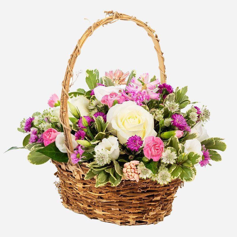 Happy thoughts pastel basket of flowers