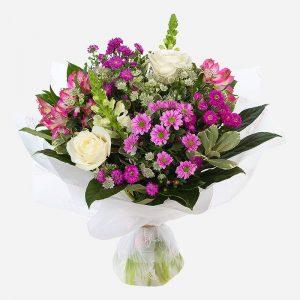 hello - purple and white flower arrangement